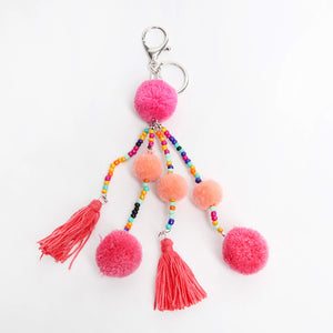 Pom And Tassel Keyring
