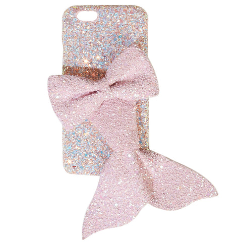 Pink Glitter Phone Case with Mermaid Bow
