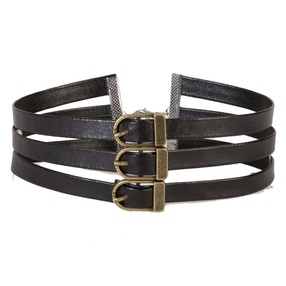 Black Triple Band PU Faux Leather Choker with Buckles
