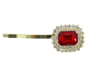 Red Hairclip With Stone Diamante