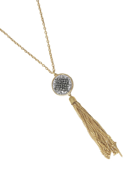 Long & Thin Chain Necklace with Stone Pendant and Chain Tassel