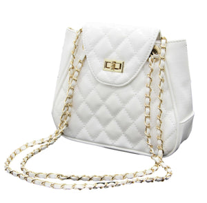 White Pu Quilted Shoulder Bag