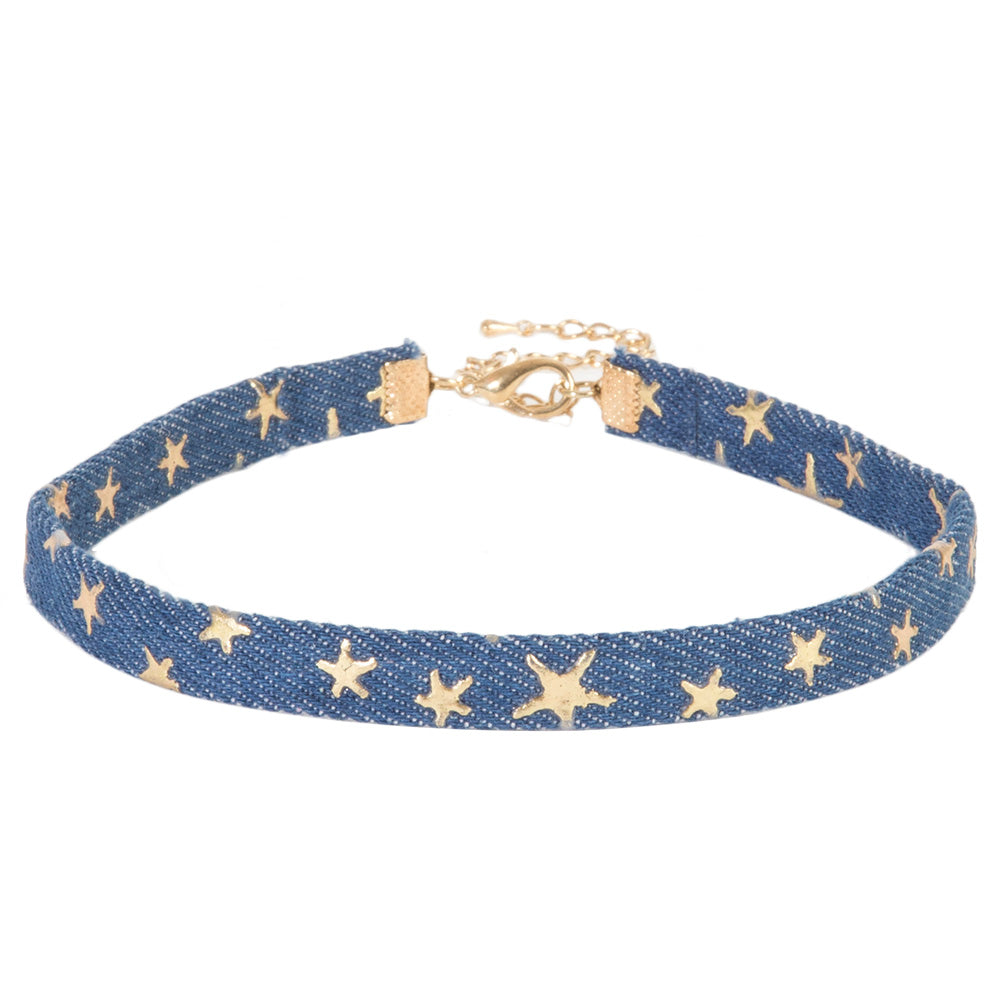 Star Print Denim Choker