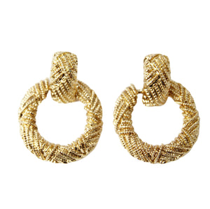 Gold Textured Circle Drop Earrings