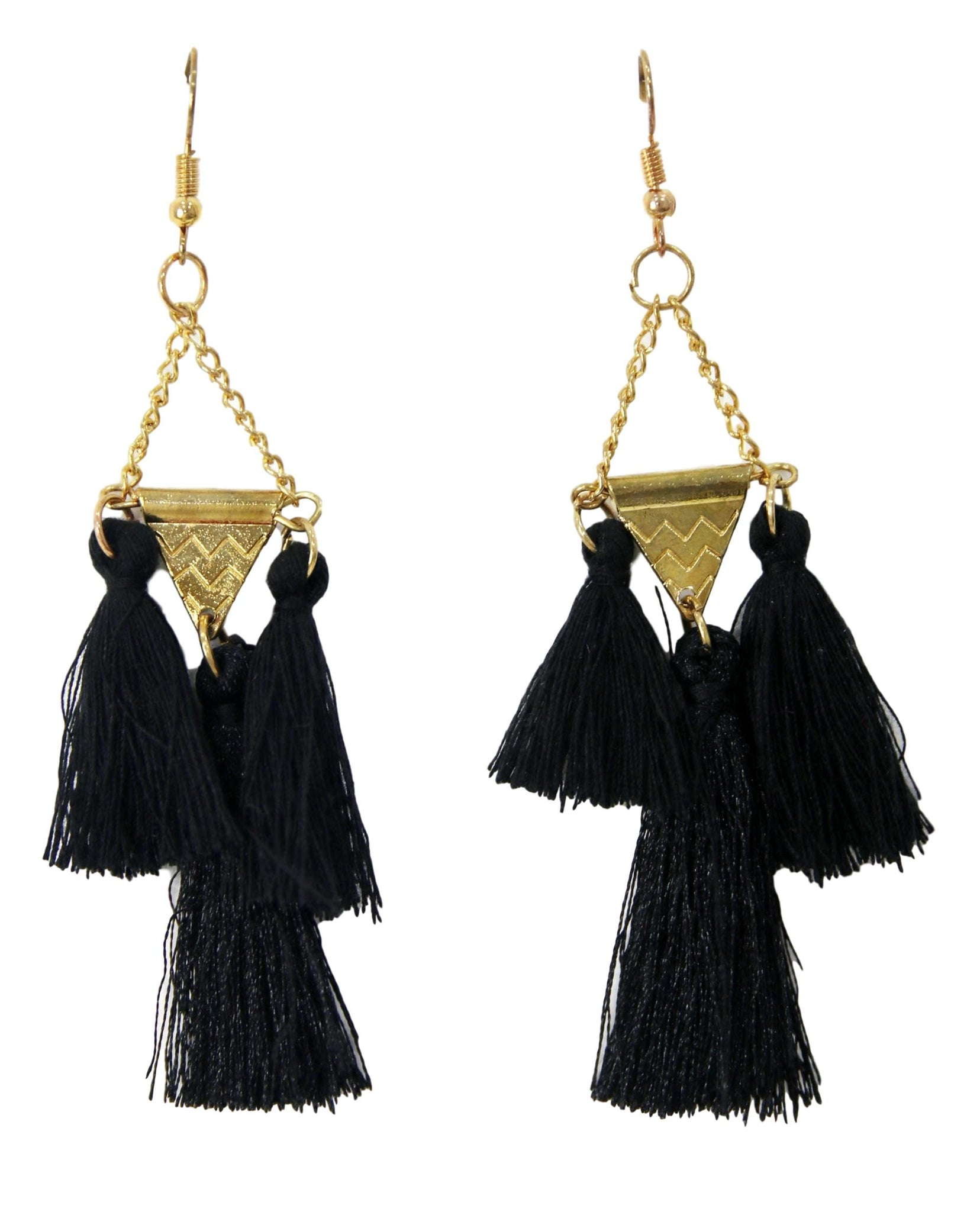 Black Triangle Tassel Earrings