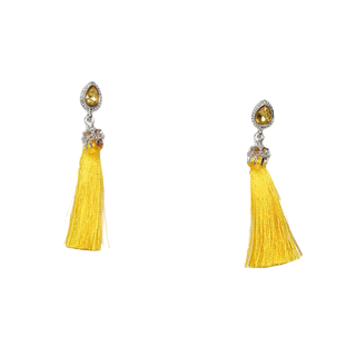 Yellow Diamante Tassel Earring