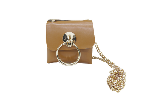Tan Faux Leather (PU) Belt Bag with Chain Strap and Ring Detail