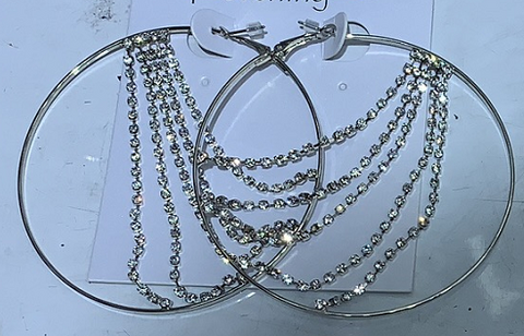 Diamante Draped Chains Earrings