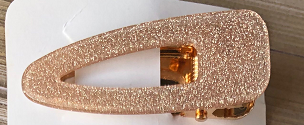 Gold Clear Plastic Glitter Hair Clip