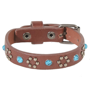 Brown 1.5 cm PU Bracelet with Studs