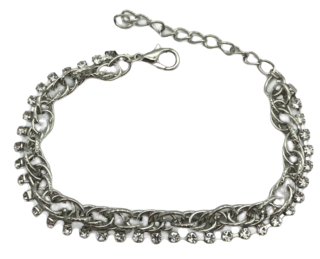 Silver Double Chain Diamante Bracelet