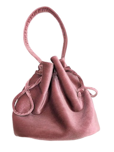 Pink Velvet Grab Handle Bag