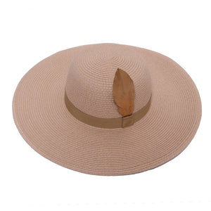 Pink Straw Hat with Metallic Feather