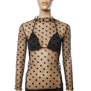 Black Spotty Sheer Stretchy Mesh Top