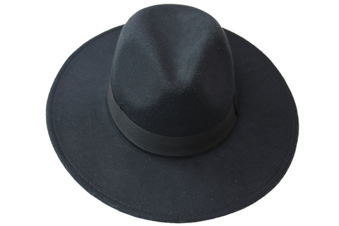 Black Fedora Felt Hat With Poly Band