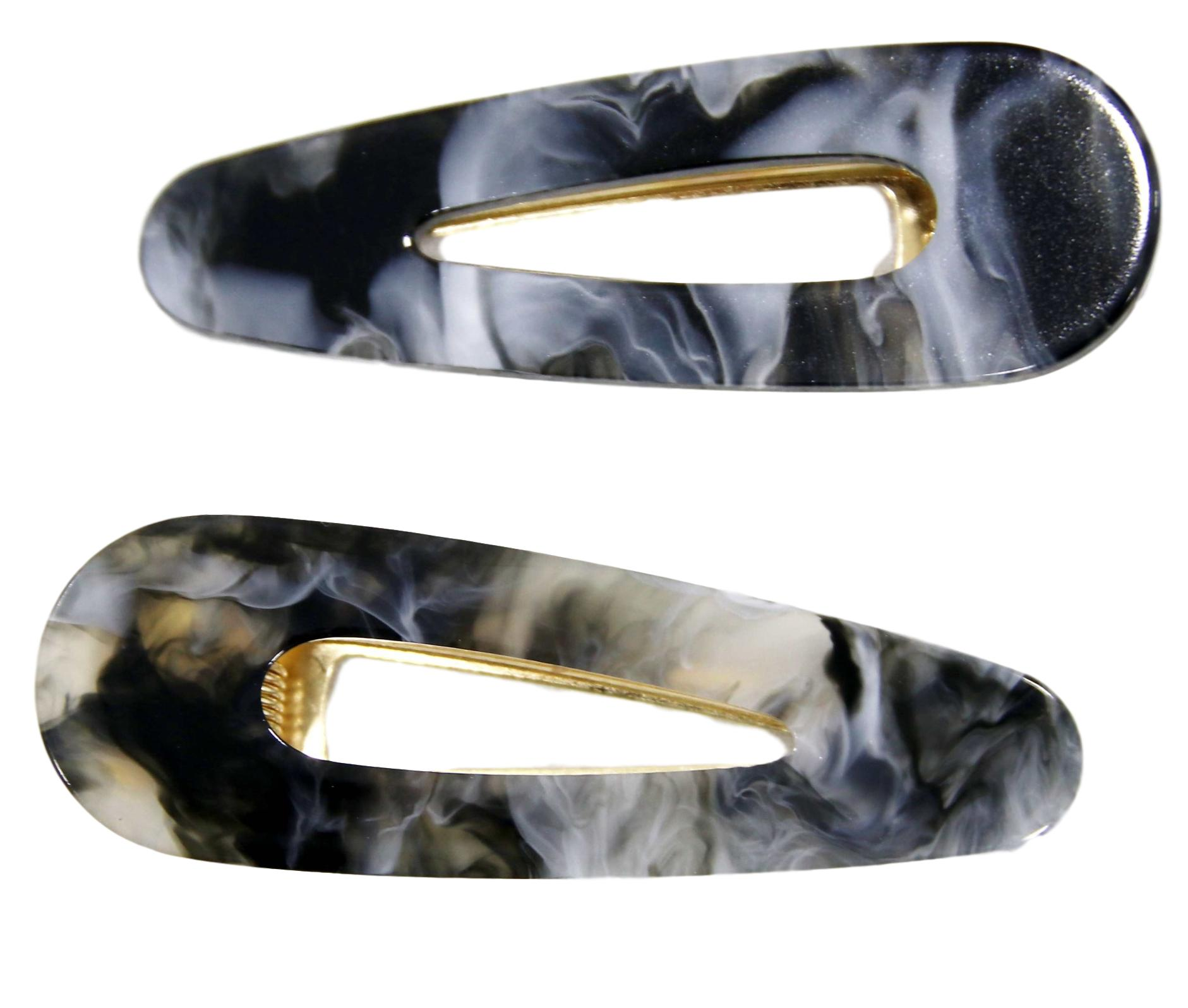 Grey Resin Hair Clip 2 Pack