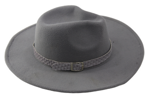 Light Grey Felt Fedora with woven band