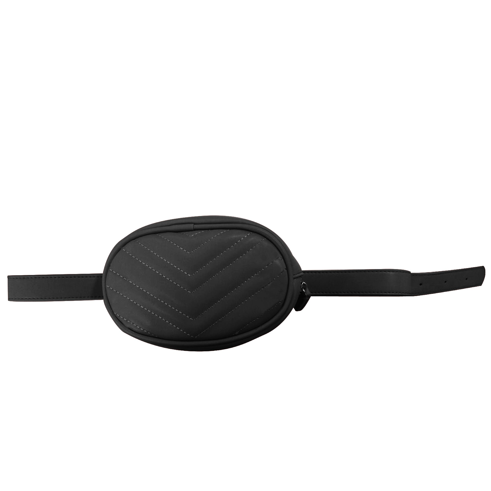 Black Oval Faux Leather (PU) Belt Bag