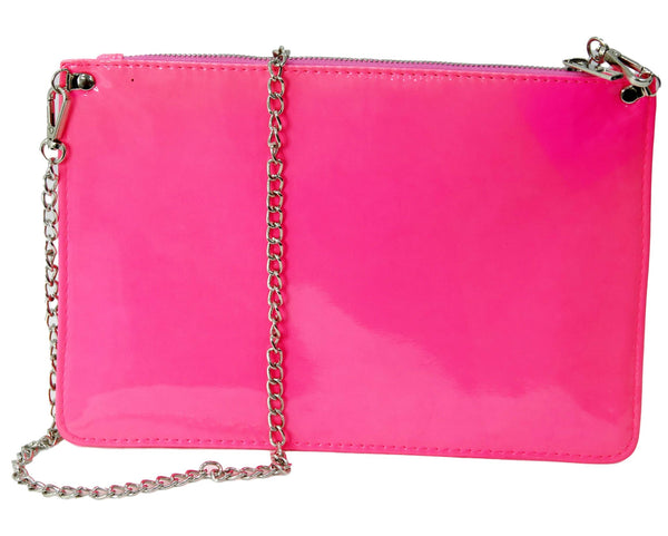 Neon Pink Patent Pu Clutch Bag