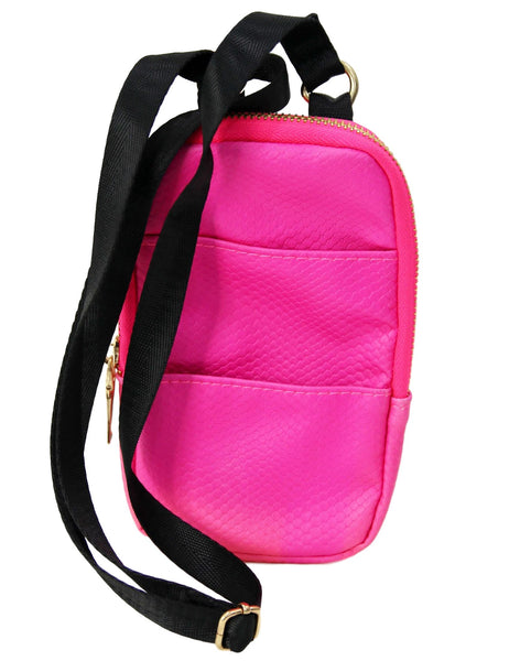 Neon Pink Pu Mini Cross Body Bag/neck bag With Front Pouch