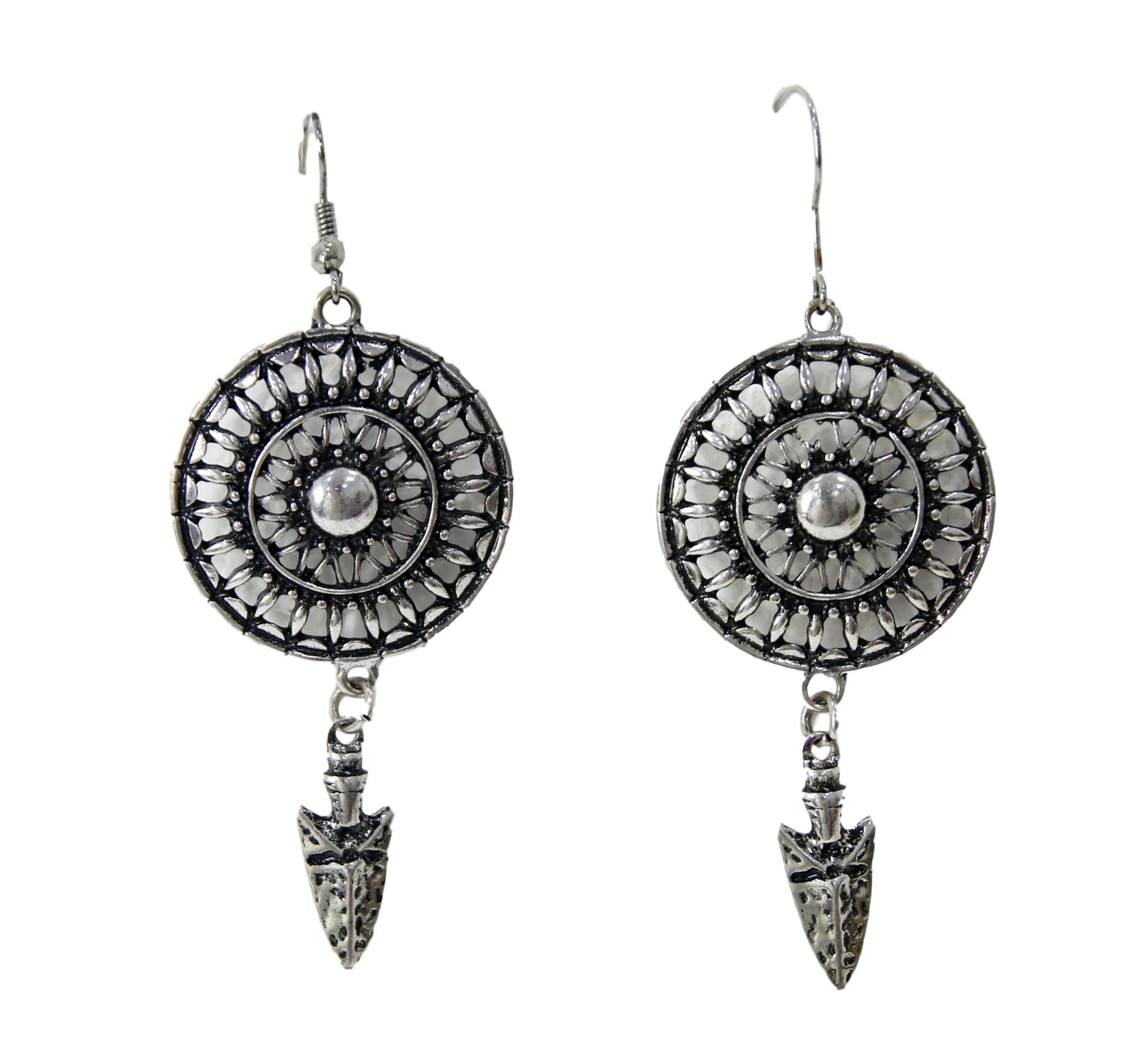 Silver Aztec Style Earrings with Arrowheads