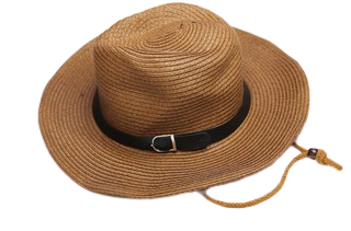 Brown Cow Boy Straw Hat With Rope Strap