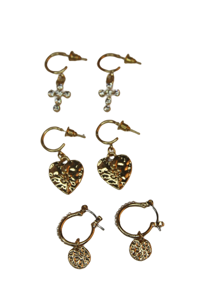 Gold Earring Multi Pack Hammered Hearts and Crosses
