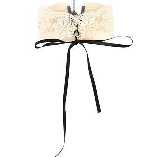 Beige Crochet Choker Tie Up Silk Ribbon