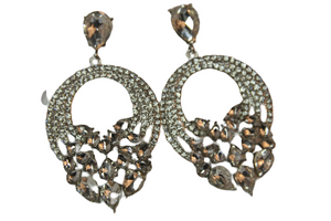 Silver Oval Diamante Stone Earring