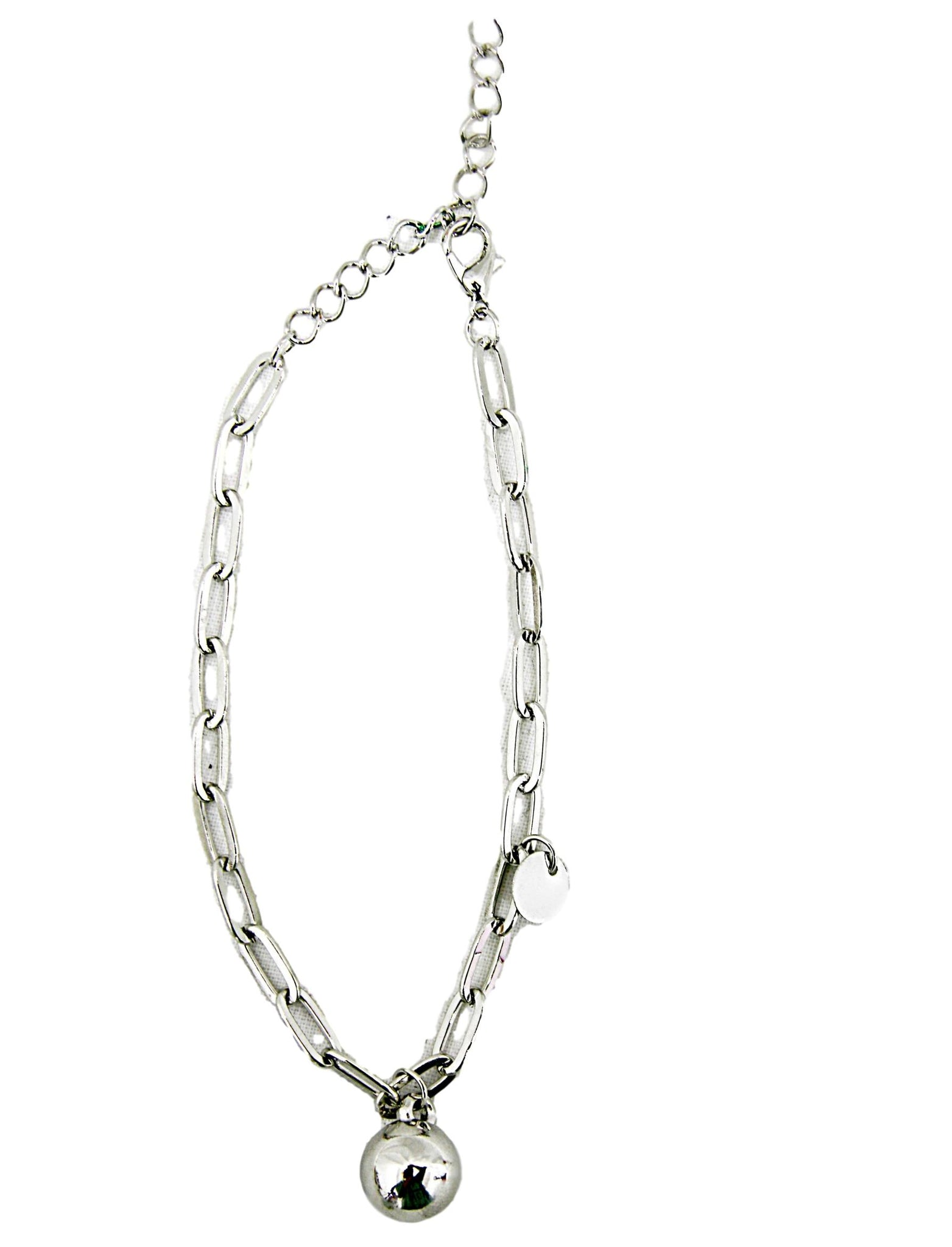 Silver Ball Drop Chain Anklet