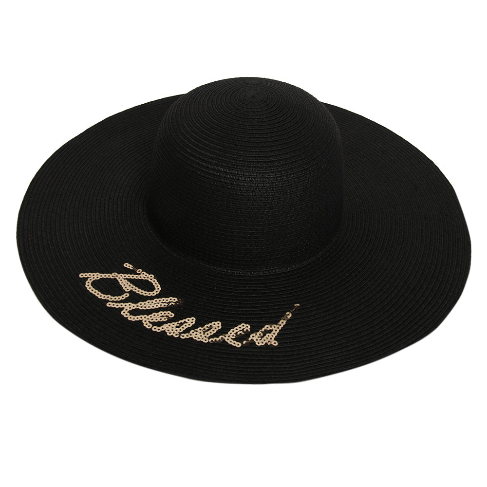 Straw Hat With Blessed Slogan
