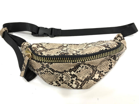 Snakeskin Bumbag with Statement Zip