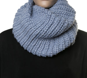 Blue Ribbed Knitted Snood