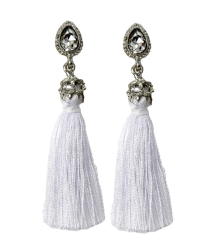 White Diamante Tassel Earring