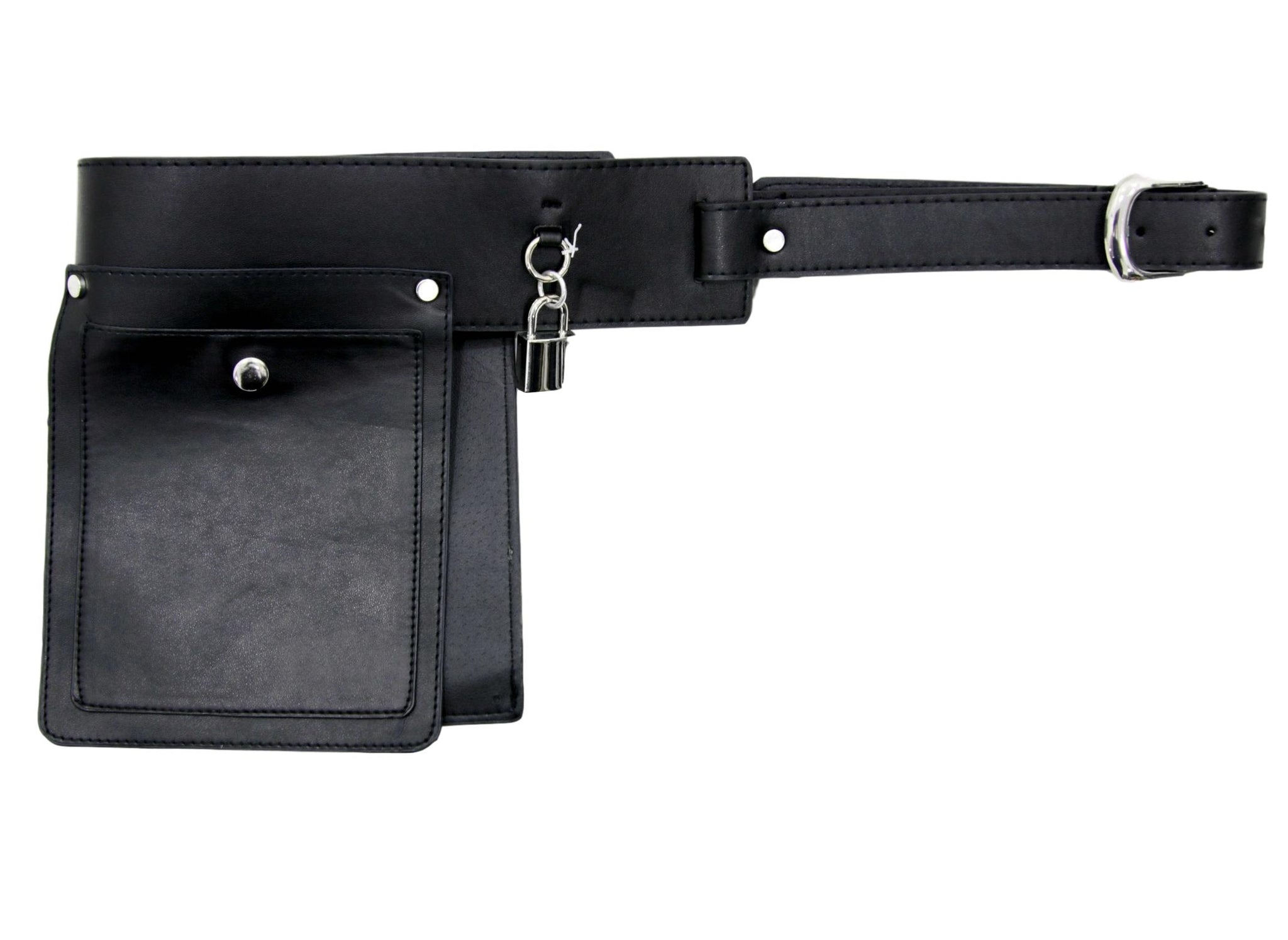 Black Belt Bag With Padlock Detail