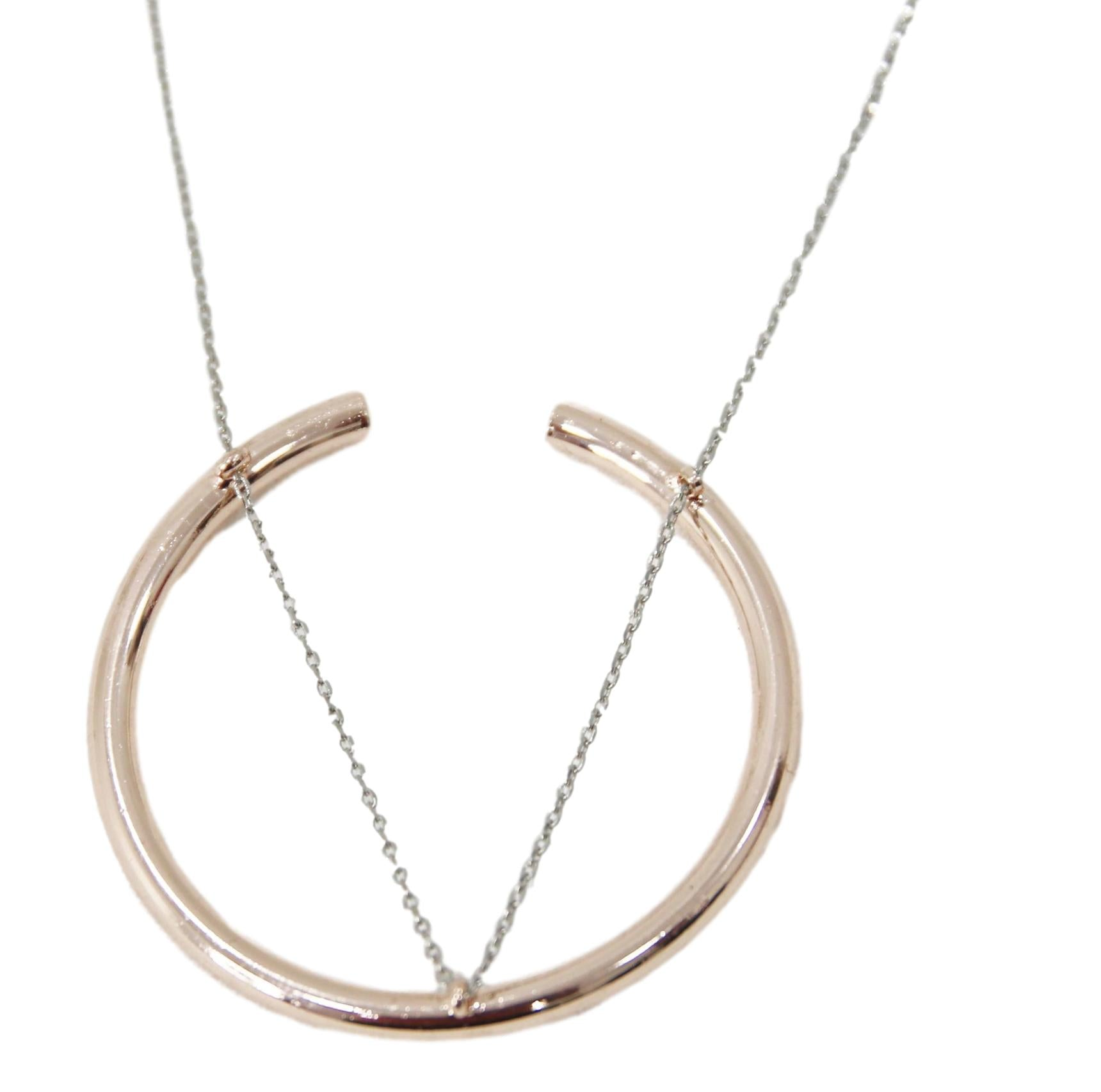 Rose Gold Circle and Chain Necklace