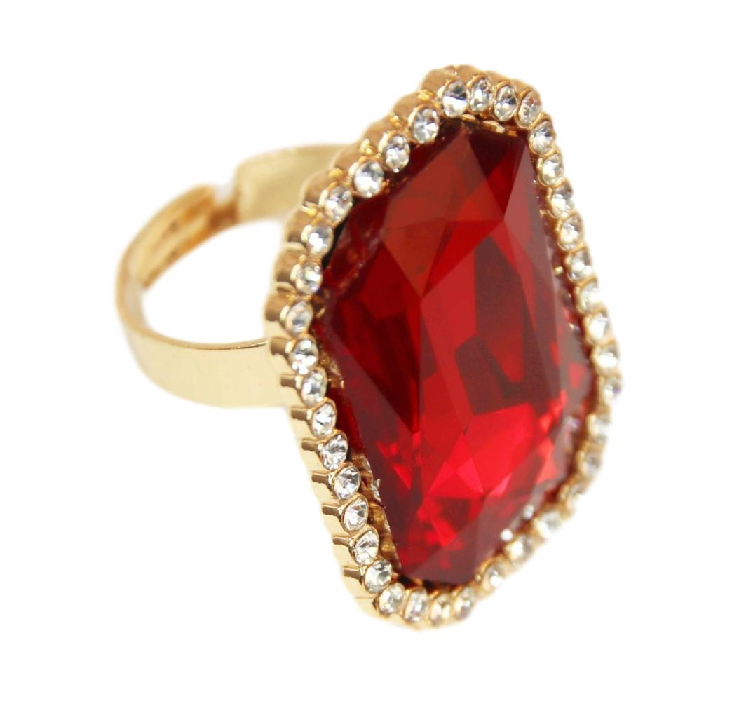 Red Octagon Stone Diamante Ring