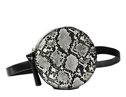 Black And White Snake Faux Leather (PU) Circle Bag With Strap