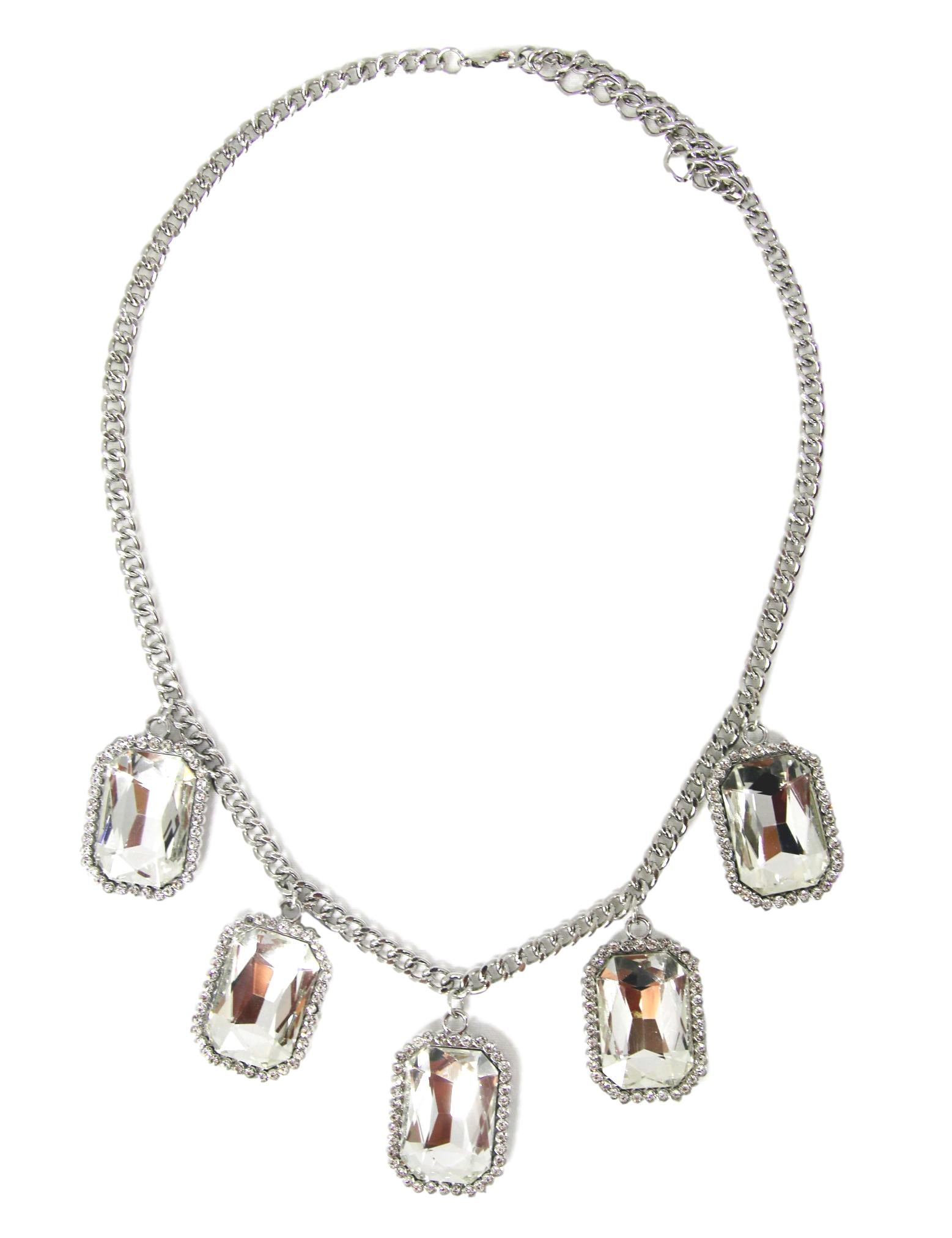 Clear Large Stone Diamante Necklace