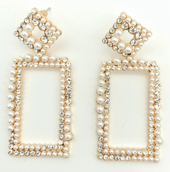 Rectangle Pearl Cluster Diamante Earrings