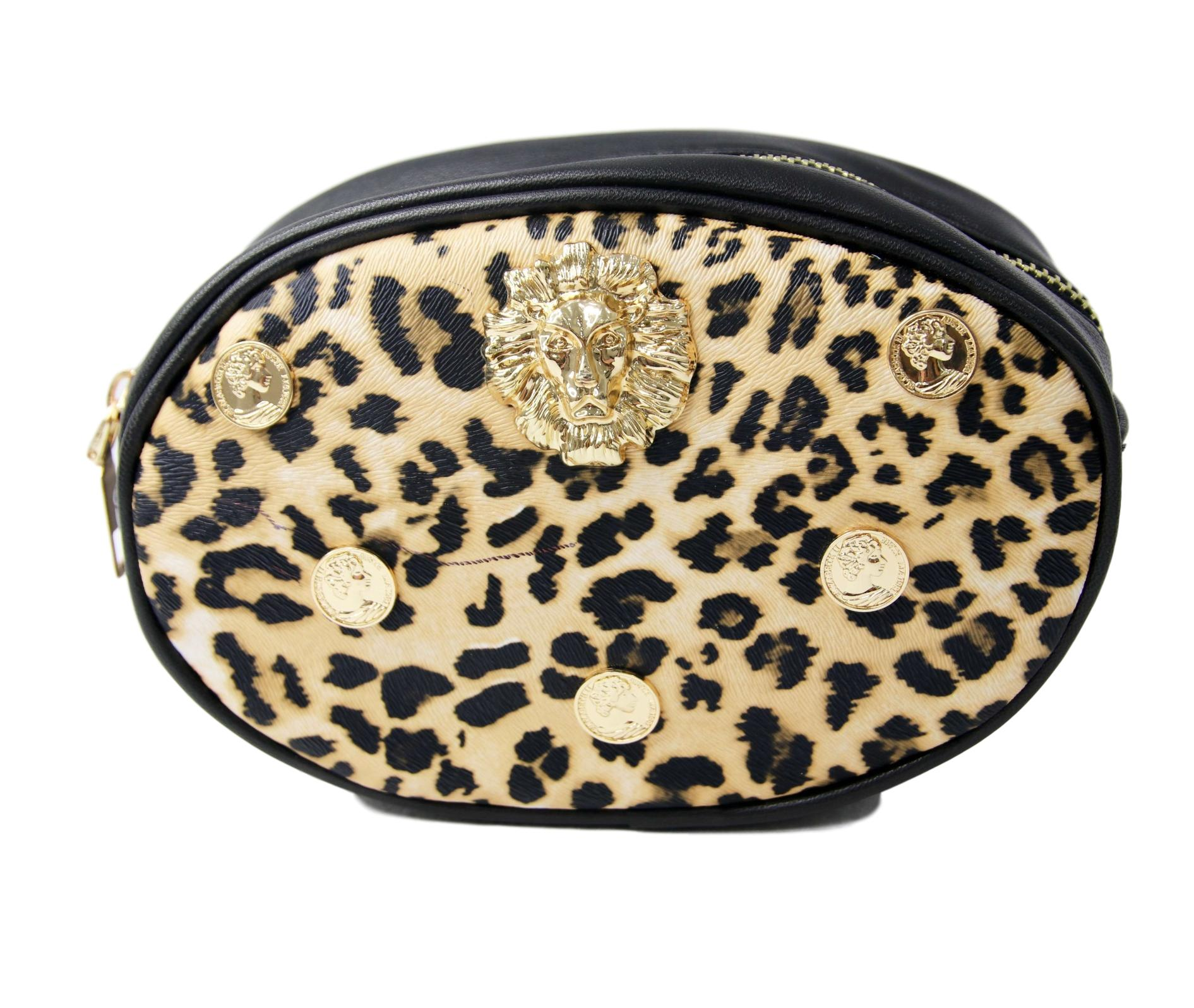 Leopard Print Belt Bag with Metal Lion and Coins Embellishment