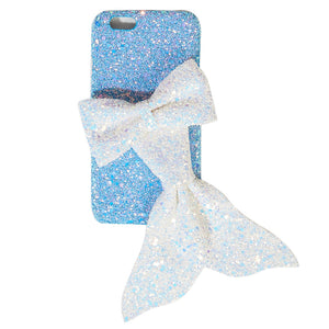 Blue Glitter Phone Case with Mermaid Bow
