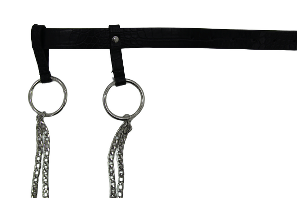 Black Croc Pu Belt With Hanging Chains