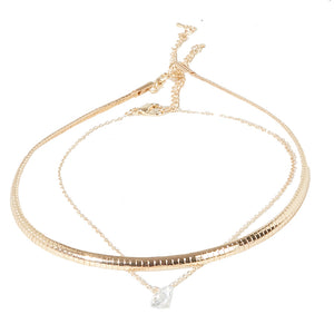 Gold Cut Line Choker with Diamante Pendant Choker