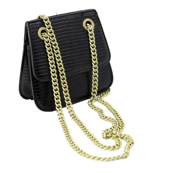 Black PU Micro Cross Body Bag With Chain