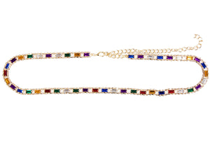 Gold Chain Multi Coloured Stones Belt Chain