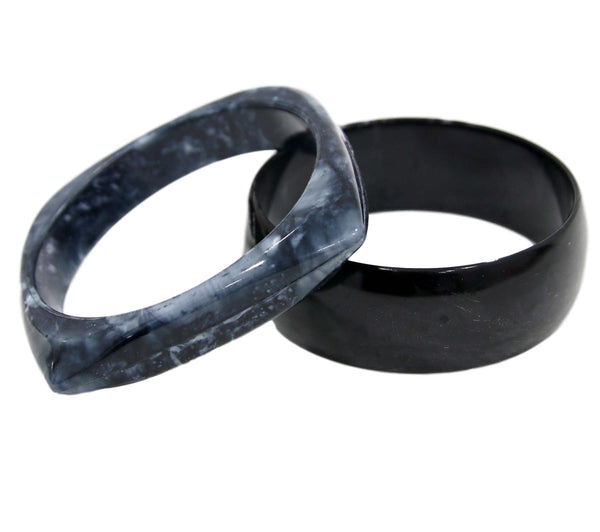 Black Plastic Resin Chunky Bangle 2 Pack
