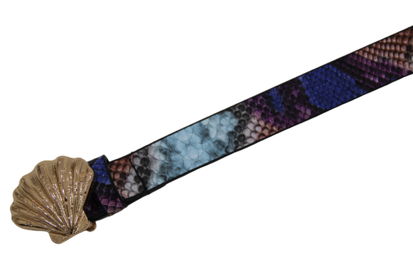 Blue Shell Buckle PU Snake Belt