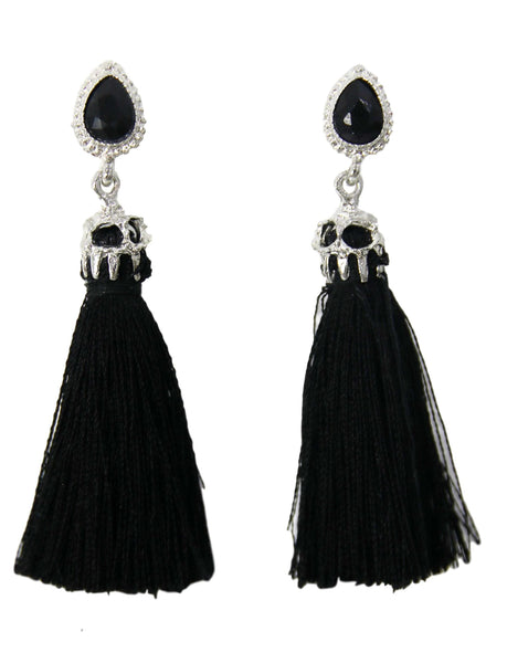 Black Diamante Tassel Earrings