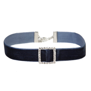 Navy Choker with Square Diamante Detail